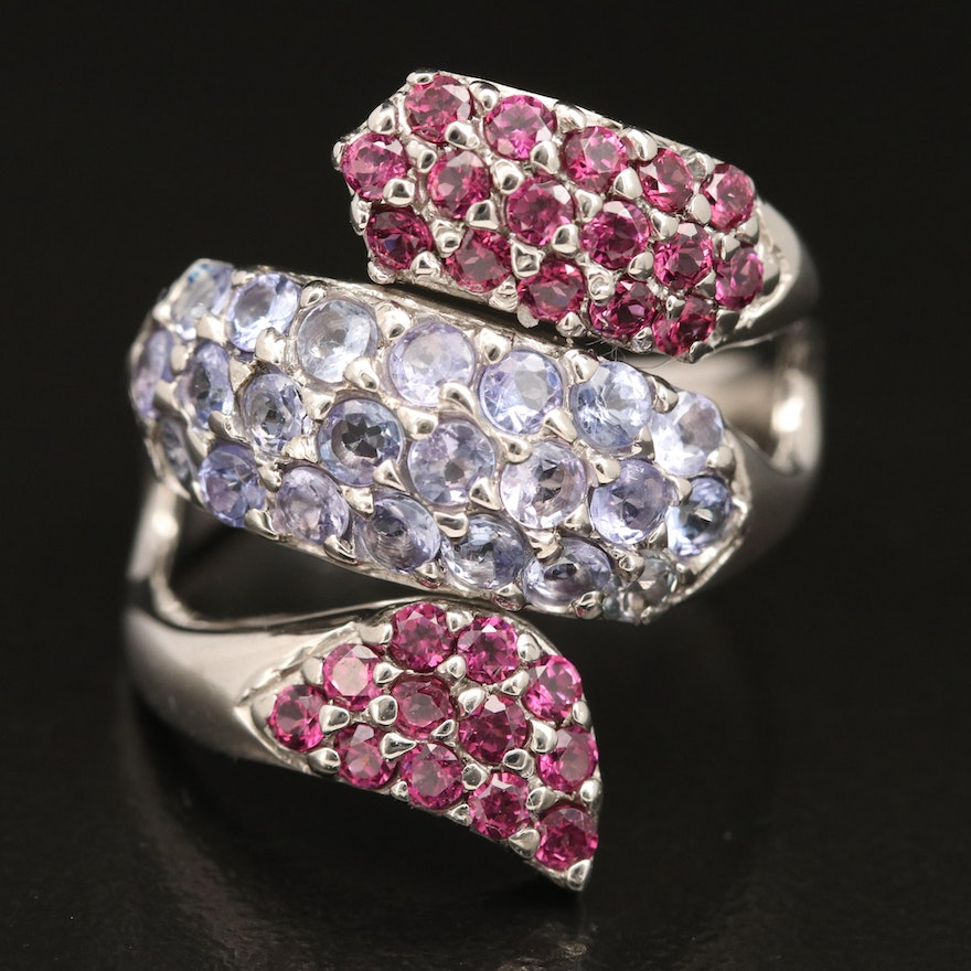 Sterling Silver Tanzanite and Garnet Coiled Ring
