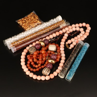 Beads, Componenets and Necklaces Including Agate, Mother of Pearl and Glass