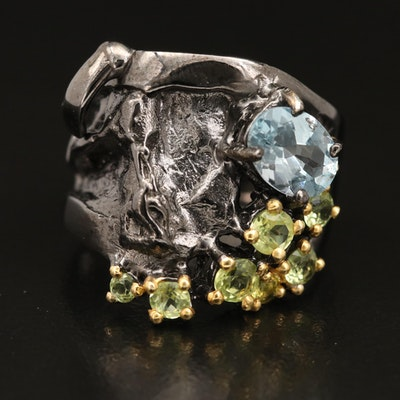 Sterling Silver Swiss Blue Topaz and Peridot Ring