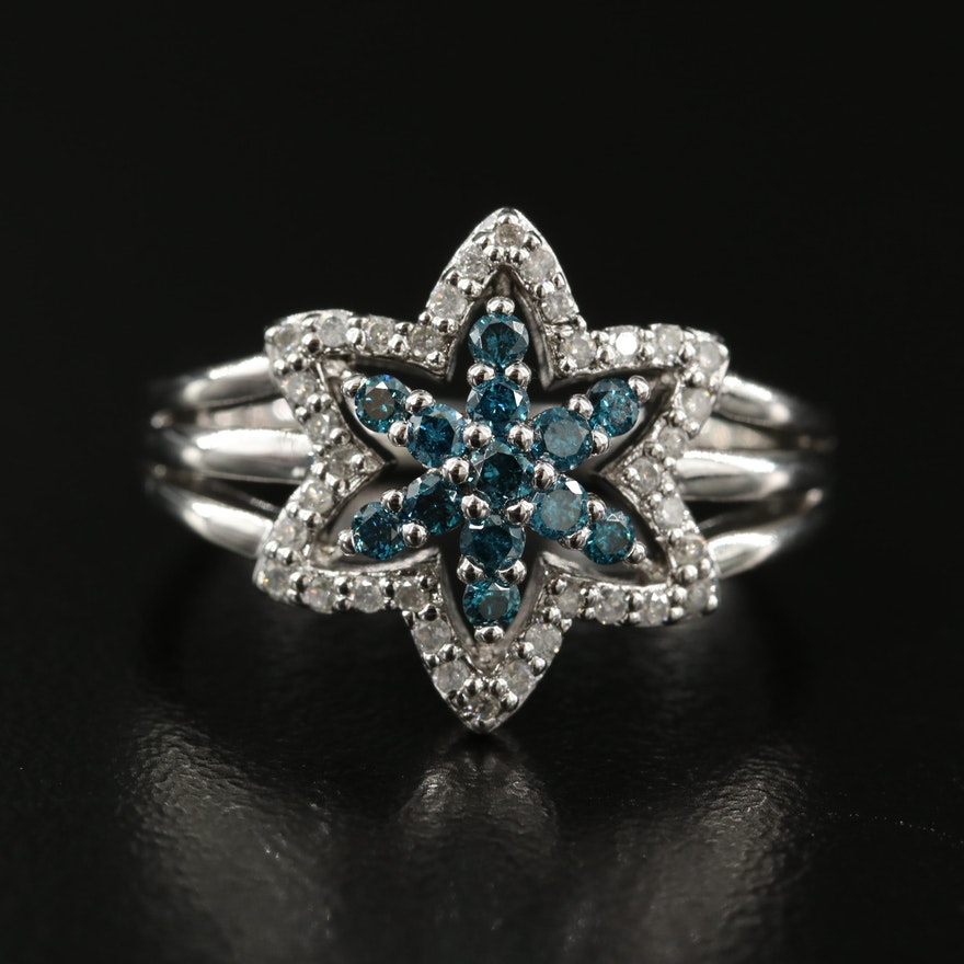 Sterling Silver Diamond Openwork Star Ring