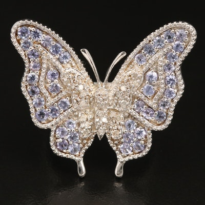 Sterling Tanzanite and Diamond Figural Butterfly Ring