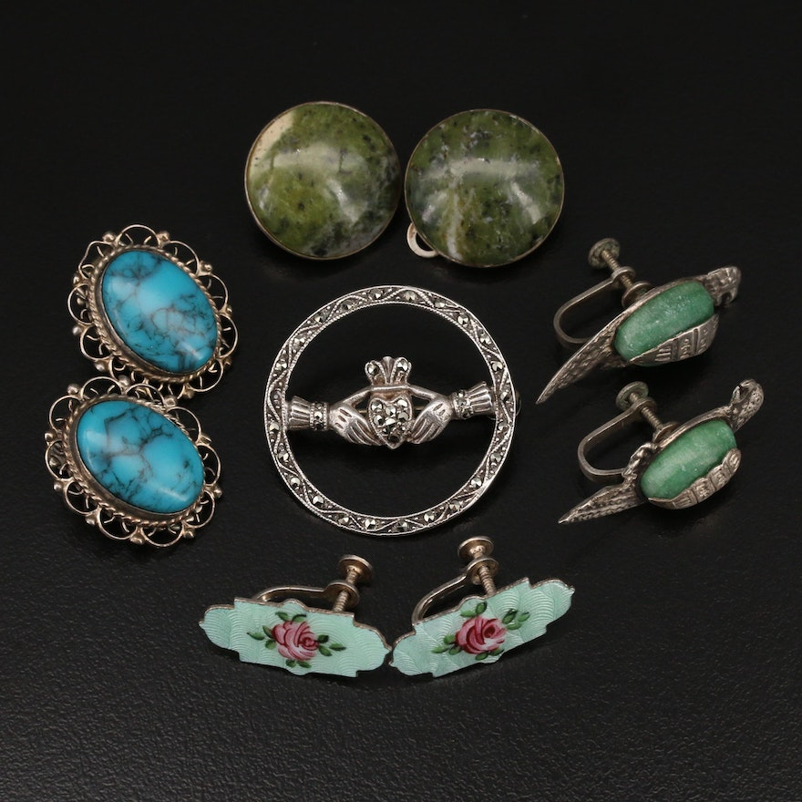 Vintage Sterling Jewelry Featuring a Claddagh Brooch and Guilloché Enamel
