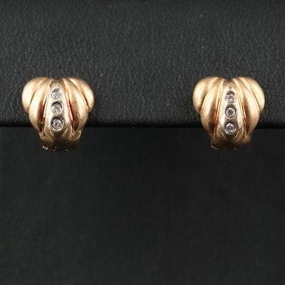 14K Diamond Fluted Heart Huggie Earrings