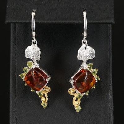 Sterling Silver Amber and Peridot Drop Earrings