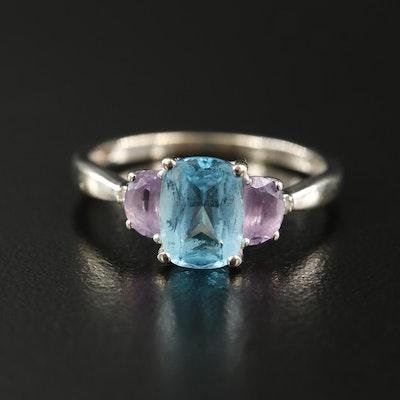14K Sky Blue Topaz, Amethyst and Diamond Ring
