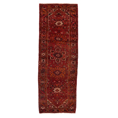 3'10 x 10'10 Hand-Knotted Persian Heriz Long Rug, 1950s