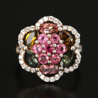 Sterling Silver Pink and Green Tourmaline Flower Ring