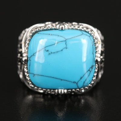 Sterling Silver Turquoise and Black Spinel Openwork Ring