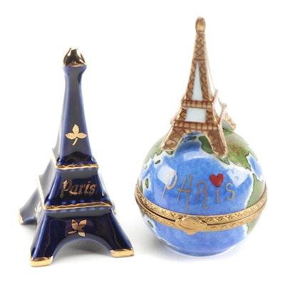 Rochard Paris Porcelain Limoges Box with Other Eiffel Tower Figurine