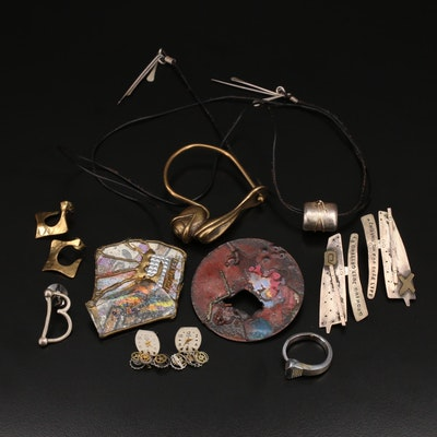 Artisan Jewelry Featuring Enamelwork Brooch and Casted Key Clip