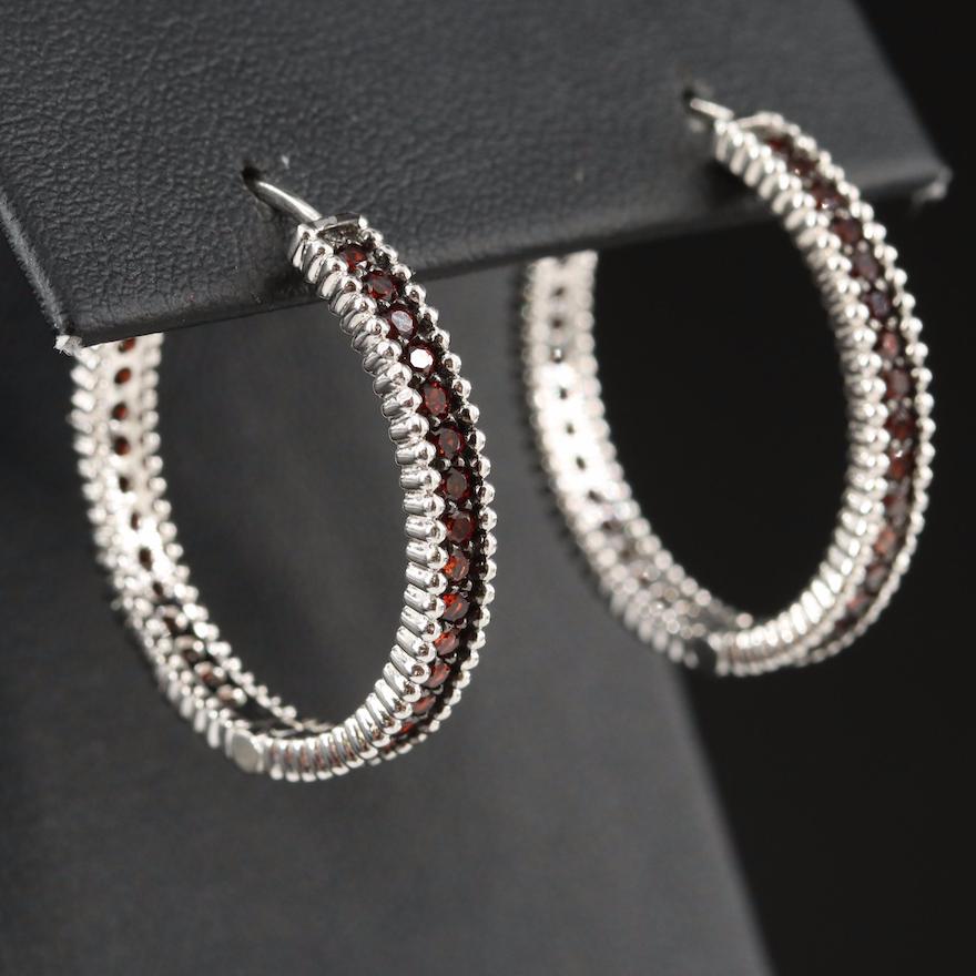 Sterling Silver Garnet Hoop Earrings