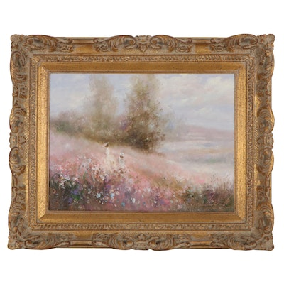 Impressionist Style Oil Painting of Two Women in Flowering Meadow