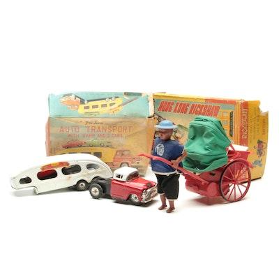 "Line Mar ""Auto Transport,"" and ""Hong Kong Rickshaw"" Toys in Original Packaging"