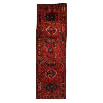 3'6 x 11'3 Hand-Knotted Northwest Persian Heriz Long Rug, 1960s