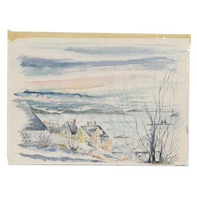 "Charles N. Stearns Watercolor Painting ""Start of Winter,"" 1977"