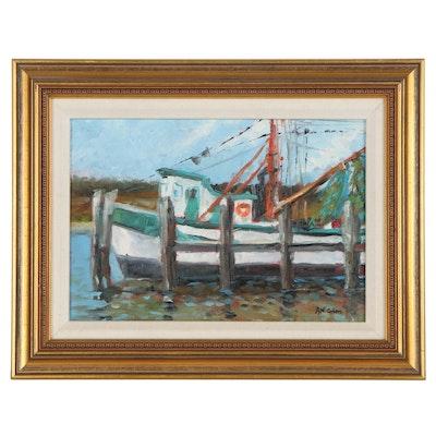 """R.N. Cohen Oil Painting """"Charleston Shrimp Boat,"""" 2006"""