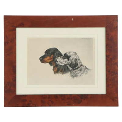 """Etching Aith Aquatint After Paul Wood """"Setters"""""""
