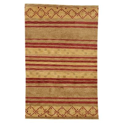 4' x 6'4 Hand-Knotted Pakistani Persian Gabbeh Rug, 2010s
