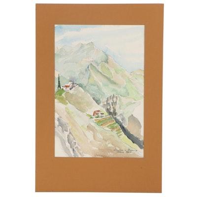 """Charles N. Stearns Watercolor Painting """"Nerja Spain"""""""