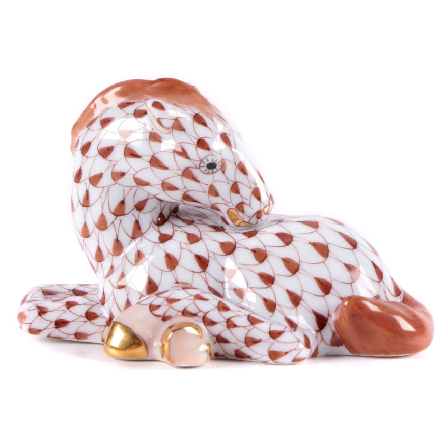 """Herend Chocolate Fishnet with Gold """"Foal"""" Porcelain Figurine"""