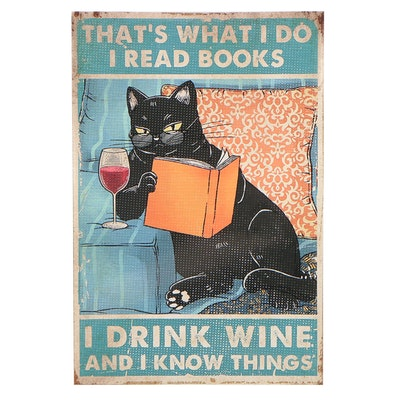 Giclée Poster of a Black Cat Reading, 21st Century