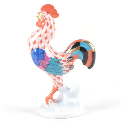 """Herend Rust Fishnet with Gold """"Rooster"""" Porcelain Figurine"""