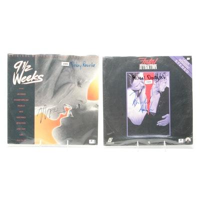 Mickey Rourke, Michael Douglas Signed LP Record and Laserdisc, COAs