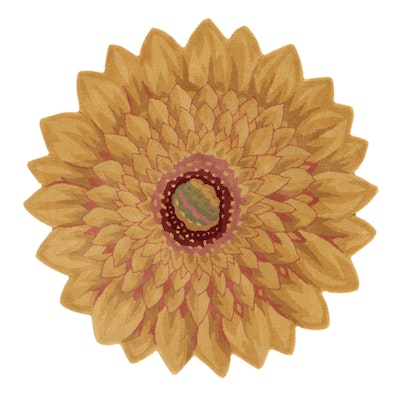 4' Round Hand-Tufted Flower Shaped Rug, 2010s