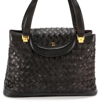 Bally Handbag in Interwoven Black Leather