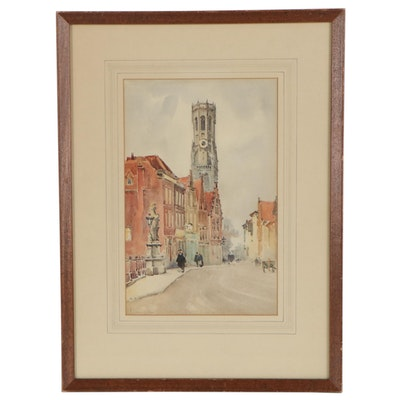 """Cityscape Watercolor Painting """"Bruges,"""" 20th Century"""