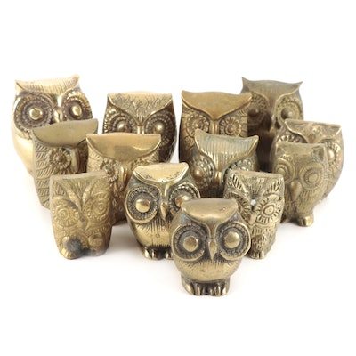 Leonard and Other Brass Owl Figurines