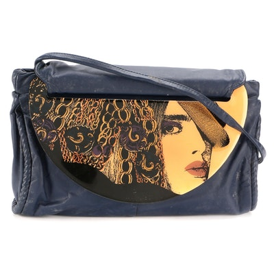 Moon-Bags by Karla Jordon Collections Front Flap Crossbody Bag in Navy