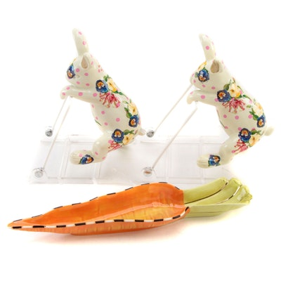 """MacKenzie-Childs """"Funny Bunny"""" Pot Climbers and """"Carrot Dish"""""""