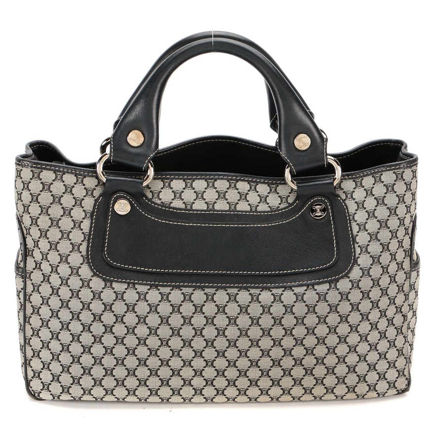 Celine Top Handle Bag in Triomphe Jacquard Canvas with Black Leather Trim