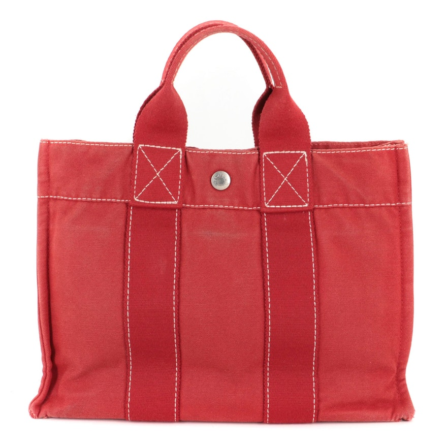 Hermès Fourre Tout PM Tote Bag in Red Cotton Canvas
