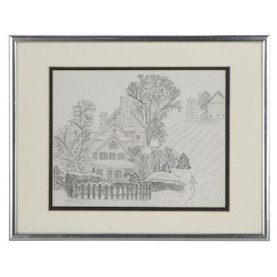 Folk Art Graphite Drawing of a Rural House Portrait