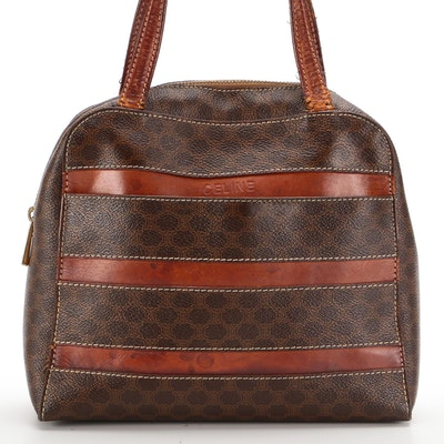 Celine Top Handle Bag in Macadam Canvas and Leather