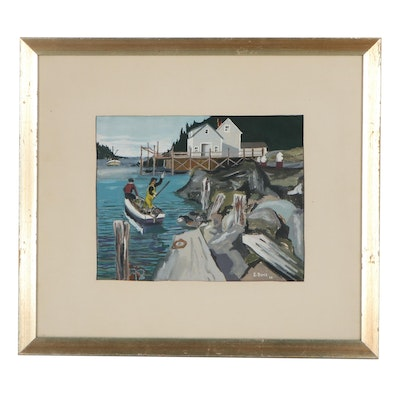 Gouache Painting of a Fishermen and a Dock, 1958
