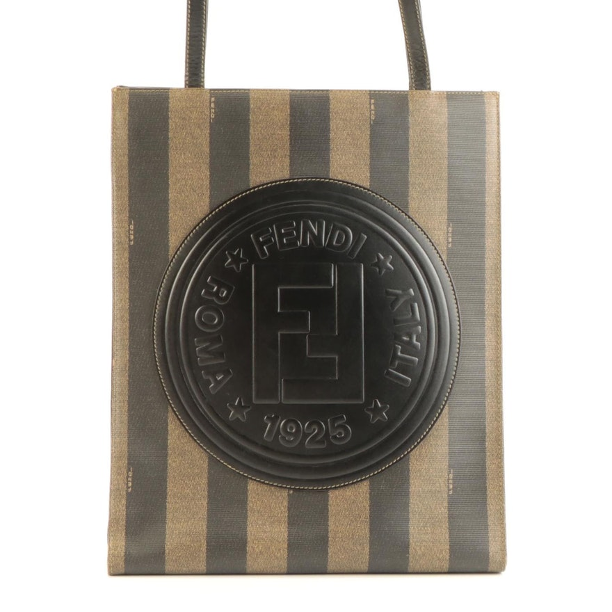 Fendi Tall Tote Bag in Pequin Stripe Coated Canvas with Black Leather Trim