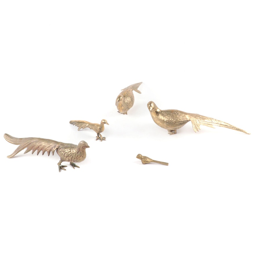 Brass Pheasants and Other Bird Figurines