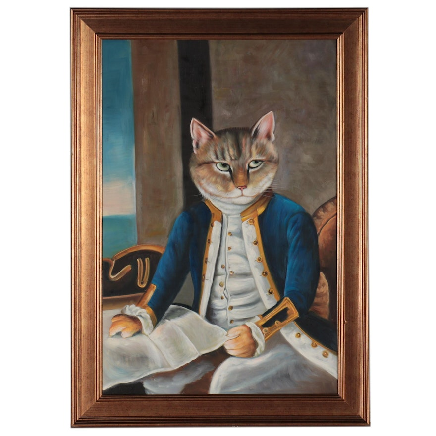 Anthropomorphic Oil Painting of a Seated Cat