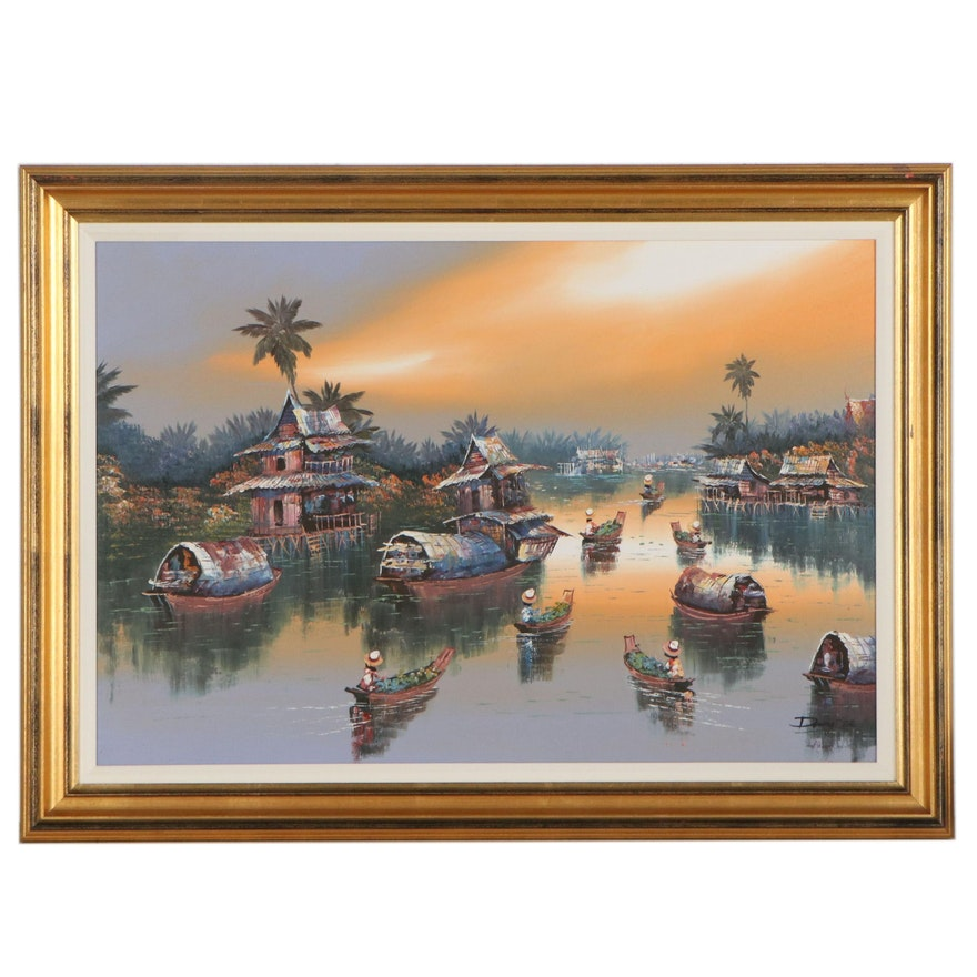 Oil Painting of a Floating Village, Late 20th Century