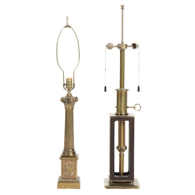 Stiffel and Other Brass Table Lamps, Mid-20th Century
