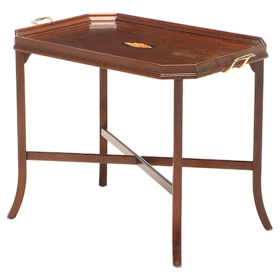George III Style Mahogany and Marquetry Tray-Top Side Table