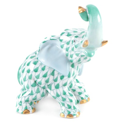 """Herend Green Fishnet with Gold """"Elephant"""" Porcelain Figurine, January 1999"""