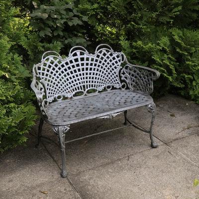 Satin Silver Painted Cast Iron Garden Bench