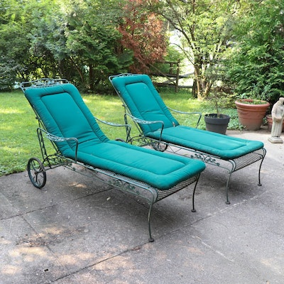 Wrought Iron Mesh Patio Chaise Lounge Chairs with Cushions