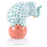 "Herend 175th Anniversary Green Fishnet ""Elephant on Ball"" Porcelain Figurine"