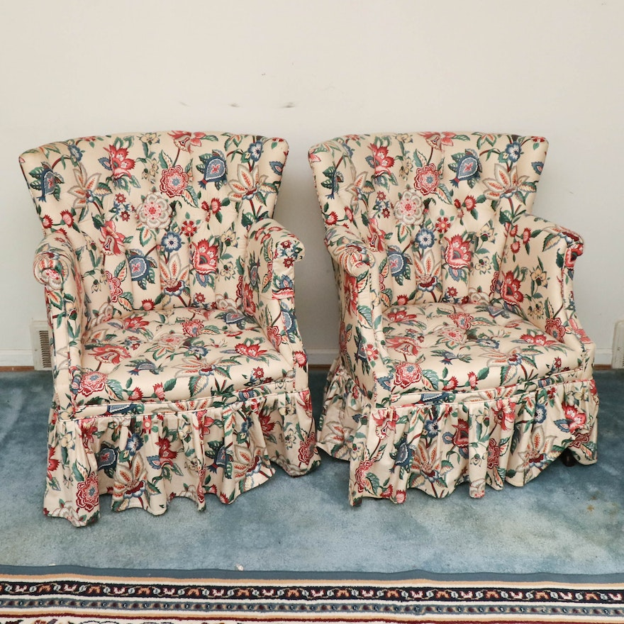 Pair of Floral Upholstered Fan Back Armchairs with Tufted Seats