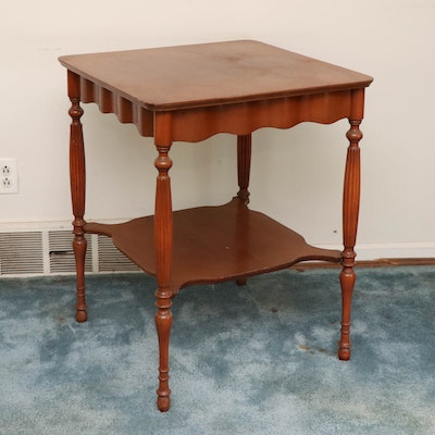 Cherry-Stained Wood Two-Tier Side Table, Mid-20th Century